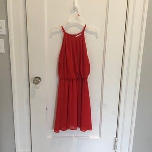flowy red dress from lush